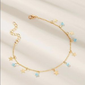 Gold star and blue beads ankle bracelet